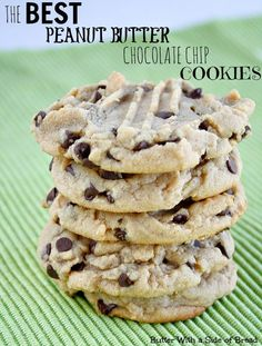 The BEST Peanut Butter Chocolate Chip Cookies EVER. You've got to try this recipe! from Butter With A Side of Bread #recipe #cookies (Cheese Chips Peanut Butter)