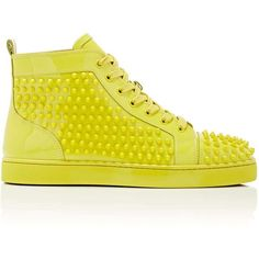 Christian Louboutin Men's Louis Flat Patent Leather Sneakers (4,170 PEN) ❤ liked on Polyvore featuring men's fashion, men's shoes, men's sneakers, yellow, christian louboutin mens shoes, mens lace up shoes, yellow mens shoes, mens black hi top sneakers and mens patent leather shoes