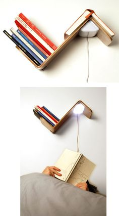 Lili Lite - bookshelf, reading light AND a way to keep your place...  don't like the exposed wire though, maybe batteries?