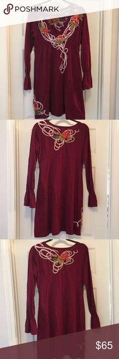 Johnny Was Long Sleeve Embroidered T-shirt dress Johnny Was Long Sleeve Embroidered T-shirt dress. Bell Sleeve. Flare Sleeve Dresses Long Sleeve