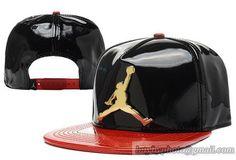 393b09020de Jordan Leather Snapback Hats Bright Polish Leather Black Red Jordan Cap