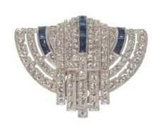 RESERVED Art Deco Brooch Sapphire Dress Clip Original 1920s Art Deco Jewelry Wedding Jewelry