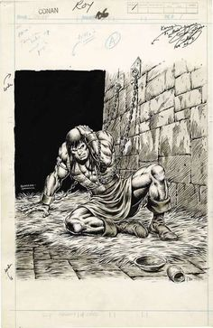CONAN THE BARBARIAN, inked page by John Buscema