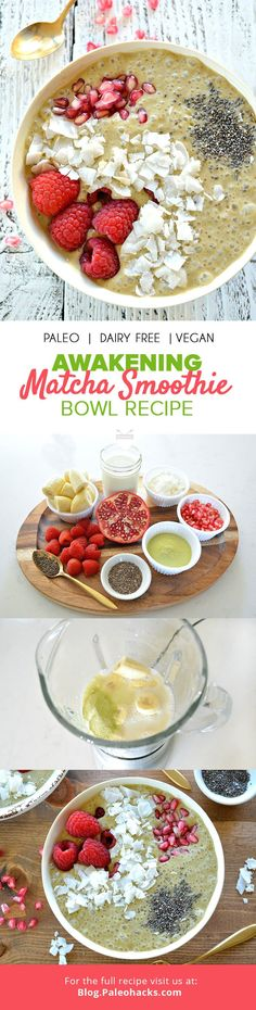 This refreshing matcha smoothie bowl fuses superfoods like chia and pomegranate for a satisfying and healthy kickstart to the day. For the full recipe, visit us here: http://paleo.co/matchasmoobowl