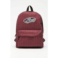 Vans Realm Burg Dots School Backpack ($38) ❤ liked on Polyvore featuring bags, backpacks, red backpack, dot backpack, rucksack bag, red polka dot backpack and vans bag