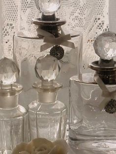 clear bottles - simple beauty of glass. :)