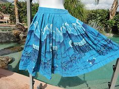 """Vintage 1950s full skirt 50s covered wagon novelty print Western 24"""" W turquoise"""
