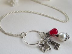 Key to my heart Charm necklace, Semiprecious stones, Sterling silver 18 inch chain
