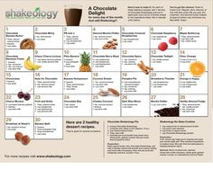 30-day Chocolate #shakeology recipe calendar #HealthiestMealoftheDay