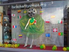 World Cup window display #charityshopgoldenballs
