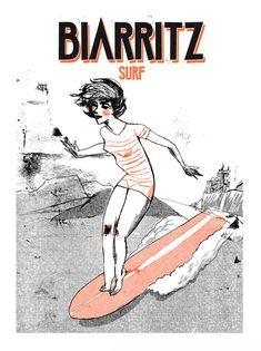 Nicolas Gremaud - Graphisme - Illustrations Cities series #surfinggirls #souvenirdebiarritz #miladybiarritz risographyprinting Biarritz, Surfing, Sketches, Illustrations, Drawings, Art Director, Graphic Design, Artist, Illustration
