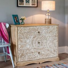Vandara chest of drawers, the three-drawer chest is individually artisan…I would love a complete bedroom set of this wood.  Love it