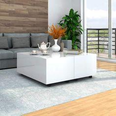Tidyard Mesa de Centro Extensible Mesa para Sofá,100x100x35 cm,1# Blanco Brillante,con 1 Compartimento Interno y Ruedas Que se Pueden Bloquear: Amazon.es: Hogar