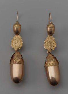 Earrings  19th century  ACCESSION NUMBER:  43.2141a-b  MEDIUM OR TECHNIQUE:  Gilded metal   CLASSIFICATIONS:  Jewelry / Adornment, Earrings, Flares, Plugs, Studs  Pair of hollow gold acorn earrings.  Credit Line:  The Elizabeth Day McCormick Collection  Museum of Fine Arts, Boston | In the Swan's Shadow
