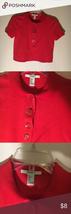 red orange collared cropped top cropped red/ orange collared shirt with gold button detailing. worn once, perfect condition. Forever 21 Tops