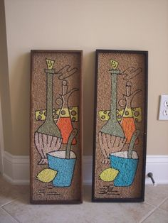 2 VTG MID CENTURY PEBBLE GRAVEL ART PICTURES WINE BOTTLE CHEESE DESIGN.  My Mom did this one and a couple more.  I've got to see if Dad still has them in the house somewhere.