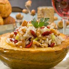 Acorn Squash Stuffed with Walnut-Apple Basmati Pilaf - California Walnuts California Walnuts, Dried Cherries, Dried Cranberries, Acorn Squash, Healthy Cooking, Healthy Gourmet, Healthy Meals, Healthy Eating, Relleno