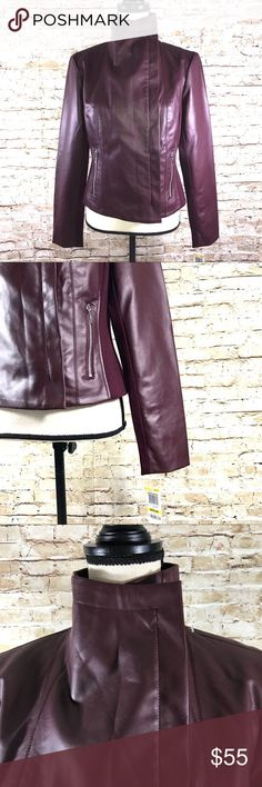 I.N.C. Faux leather Jacket Gorgeous NWT zip up jacket by INC with high collar and zip pockets. INC International Concepts Jackets & Coats