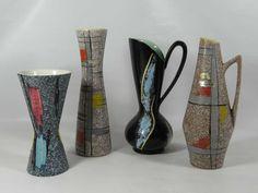 Konvolut 4 Vase Studio Keramik Bay Scheurich Ruscha 50s Ceramics Rockabilly | eBay, sold for EUR 22,72