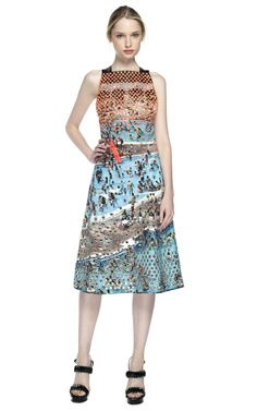 Shop Proenza Schouler Pool Scene Print Sleeveless Flare Dress at Moda Operandi