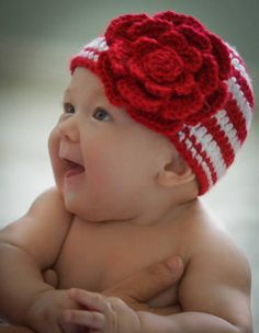 Crocheted Christmas hat, so cute!!