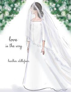 Wedding Wall Art for Women - Love is the Way - Wedding Illustration - Wedding Cards -