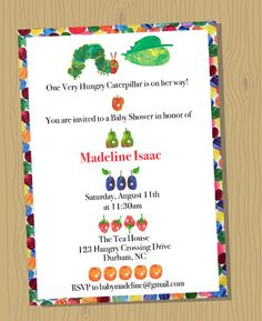 VERY HUNGRY CATERPILLAR custom Baby Shower Invitation - Digital file, you print - 5x7