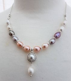 Multi colour pearls necklace, Cultured pearl necklace, Silver pearl jewellery, June's birthday bead, Women's gift, Mother's gift, handmade by SweetgemsDesign on Etsy https://www.etsy.com/uk/listing/518759318/multi-colour-pearls-necklace-cultured