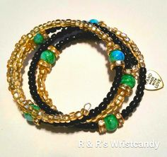 Black Gold and Green Beaded Coil Bracelet by RandRsWristCandy, $10.00