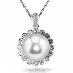 Imperial 9-9.5mm Fresh Water Pearl and Diamond Pendant with 18'' Sterling Silver