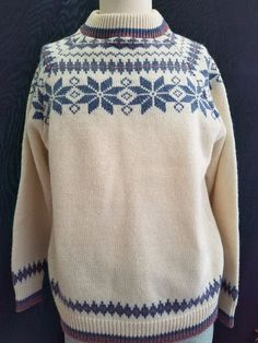 Mast General Store Mens Large Fair Isle Ski Sweater Wool Crew Neck Pullover Blue…