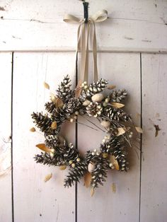 Holiday Wreath - Christmas Wreaths - Winter Decor - Scandinavian Decor - Pine Cones - Natural. $64.00, via Etsy.
