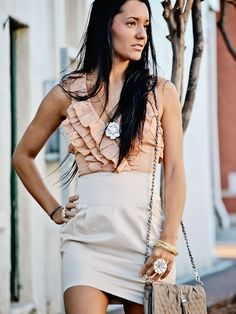 Beige Ruffle Dress - $48.00 : FashionCupcake, Designer Clothing, Accessories, and Gifts