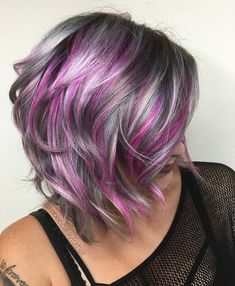 Silver Blonde Hair With Dark Purple Roots Hair Color