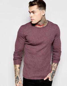 Mega fede ASOS Rib Jersey Extreme Muscle Long Sleeve T-Shirt In Oxblood - Oxblood ASOS Plain til Herrer i behagelige materialer