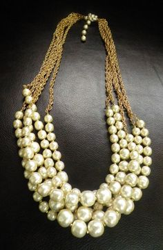 Signed MIRIAM HASKELL Pearl Necklace, Baroque Pearl, Clear Rhinestones 5 Strand #MiriamHaskell