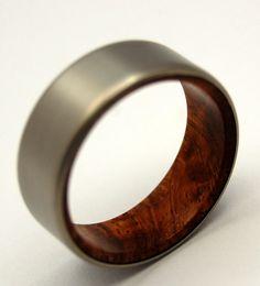 Handmade Titanium Wooden Wedding Titanium Band for Man, Perfect Jewelry Gift for Him