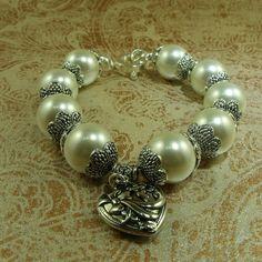 Shell Pearl Bracelet-Charm Bracelet-Chunky Bracelet-Handmade Bracelet-Made In UK-Pearl Bracelet-Shell Pearl Jewellery- UK made Jewellery by WholeHeartedJewelry on Etsy