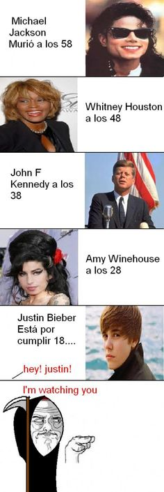the stupid thing about this picture is michael jackson died at age 50, not 58.. JFK died at 46, not 38. And Amy Winehouse died at 27, not 28.