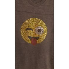 Custom Rhinestone Wink Tongue Out Emoji Emoticon Vintage Football... ($25) ❤ liked on Polyvore featuring tops, t-shirts, brown, women's clothing, vintage t shirts, vintage v neck t shirts, rhinestone t shirts, brown v neck t shirt and v-neck tops