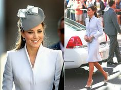 Catherine wears a pale grey Alexander McQueen coat, with a matching Jane Taylor hat. Photos: Getty Images / Media Mode