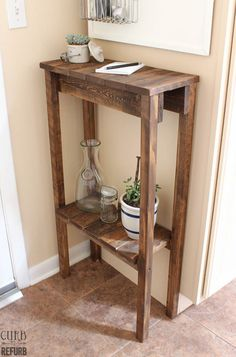 Carrie from Curb to Refurb cutest little Pallet Table you will ever see! I LOVE it…it would look great in any little space you grace with it! You can stylize it and in the end you will have a little treasure! The tutorial is spot on…I think you just might end up making 2!!!