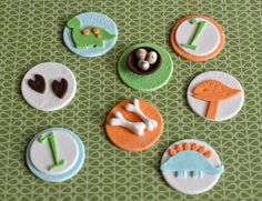 Fondant Dinosaur, Bone, Nest with Eggs, Footprint and Age Toppers for Cupcakes, Cookies or other Treats