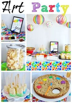 A splash of rainbow on a white canvas makes a fun and colorful art party. Lots of great ideas for treats, activities, and party favors.