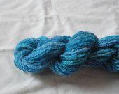 Handspun yarn, Double ply, Handpainted blue, 60 yards