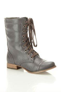 Grey Lace Up Boots $30