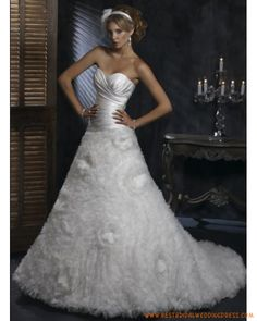 Satin and Organza Strapless Sweetheart Neckline Gathered Chic Skirt in A line Chapel Train Wedding Dresses Ruched Wedding Dress, Wedding Dresses With Straps, Custom Wedding Dress, Wedding Dresses For Sale, Wedding Gown Images, Unique Wedding Gowns, Floral Wedding, Wedding Ideas, Best Cocktail Dresses