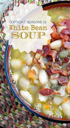 White Bean and Bacon Soup - copycat of the white bean soup at Seasons 52 via @Jo-Lynne Shane