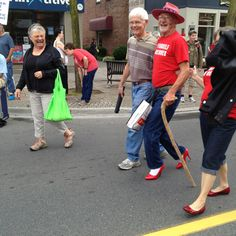 Last of he men walkers doing the Walk a Mile in Her Shoes