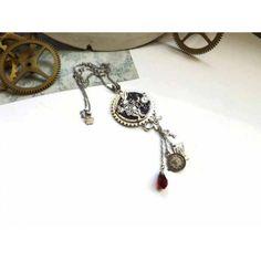 86f42a960bd Collier steampunk sautoir inspiration Alice au pays des merveilles cadran  de montre engrenages